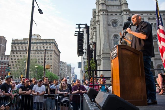 John Fetterman, Democratic primary candidate for lieutenant governor of Pennsylvania, speaks to supporters at City Hall in Philadelphia. (Kimberly Paynter/WHYY)