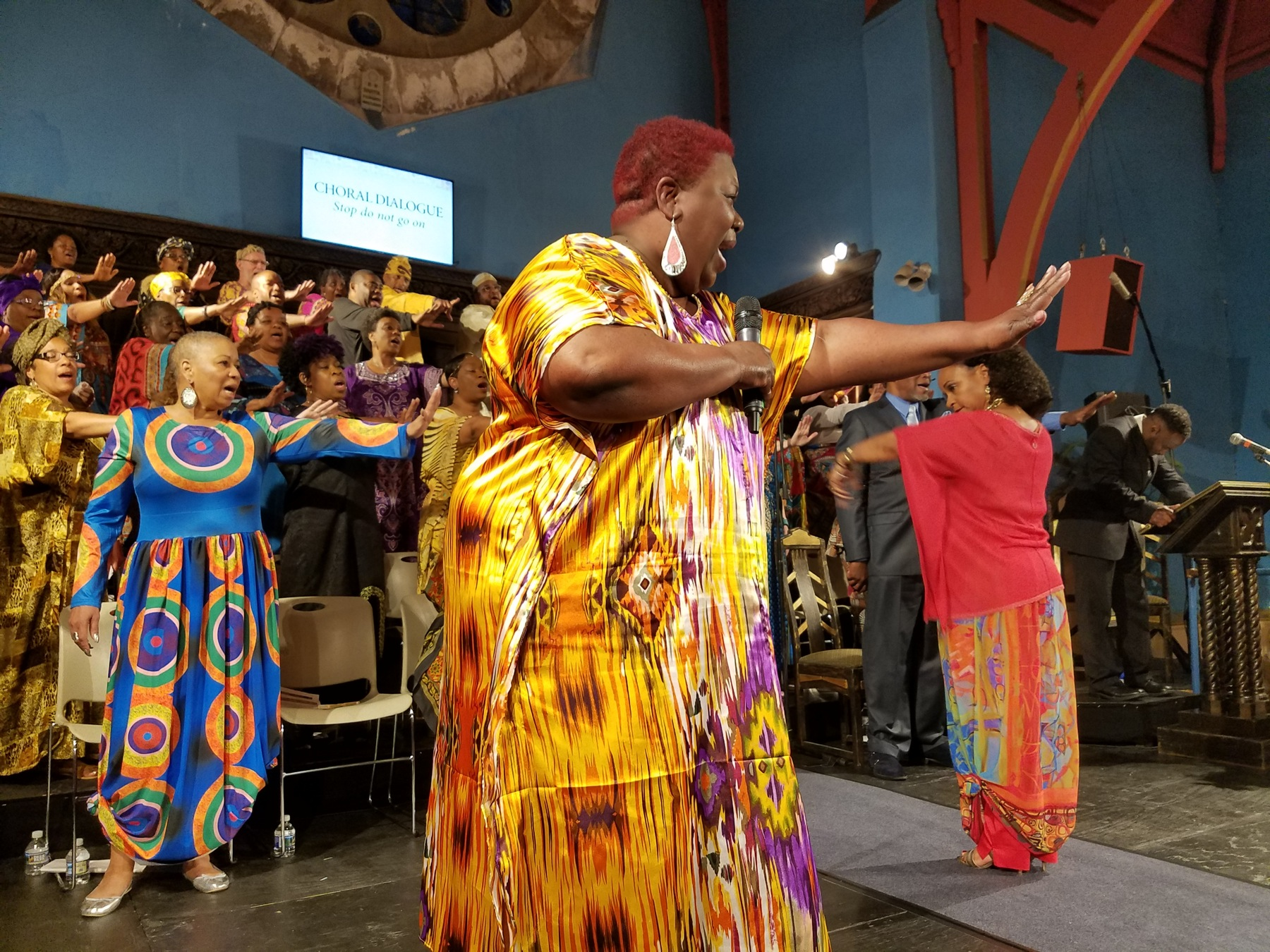 """Audrey Mickell sings """"Stop Do Not Go On"""" as the character Choragos in the musical """"The Gospel at Colonus"""" at the First Unitarian Church on Chestnut Street in Philadelphia."""