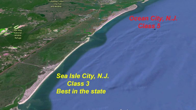 Sea Isle City leads the state in qualifying for the biggest flood insurance discounts. (Google Earth maps)