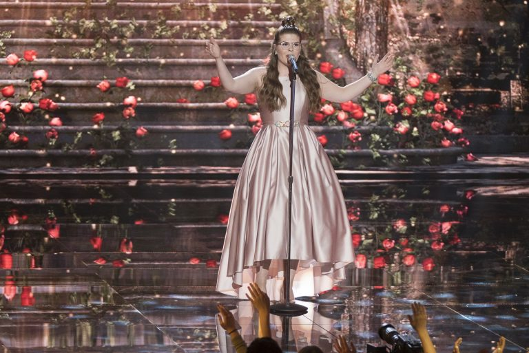 Catie Turner of Langhorne, Pennsylvania, performs on the ABC television show,
