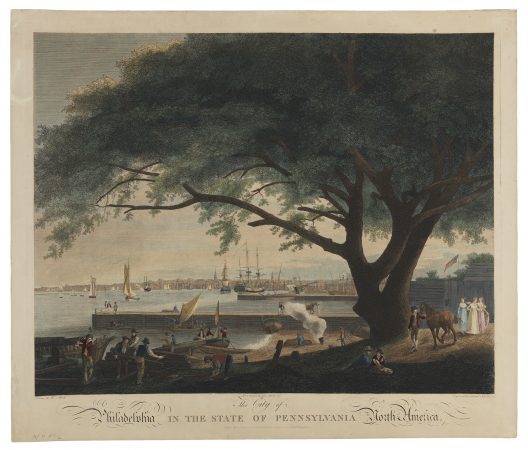 This depiction of Philadelphia by William Birch shows a view of the Delaware River from Arch Street. (Courtesy of The Library Company of Philadelphia)