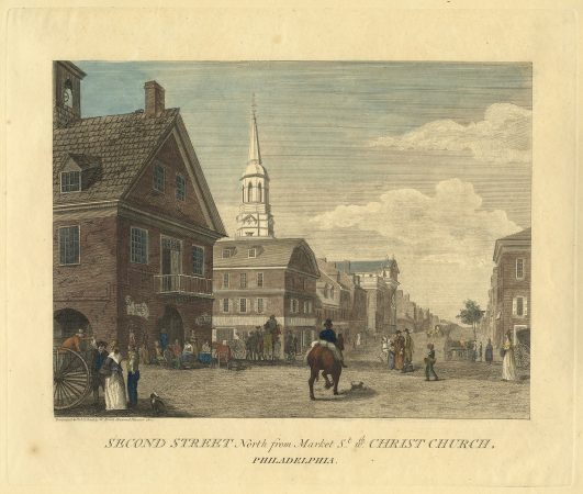 Second Street North from Market Street with Christ Church, Philadelphia, by William Birch. (Courtesy of The Library Company of Philadelphia)