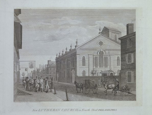 The New Lutheran Church on Fourth Street, Philadelphia, by William Birch. (Courtesy of The Library Company of Philadelphia)