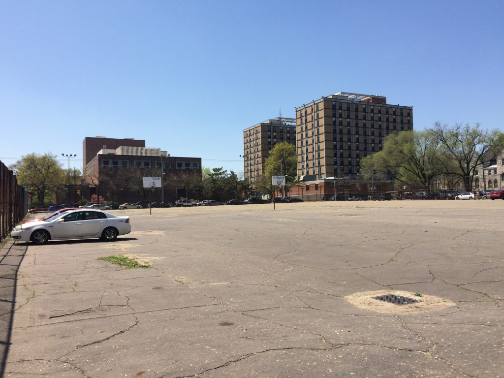 Temple's Alpha Center would be located on the end of this parking lot, at the northwest corner of 13th and Diamond St.