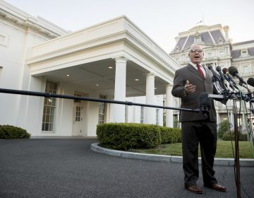 National Security Adviser H.R. McMaster speaks to members of the media outside the West Wing of the White House, Monday, May 15, 2017, in Washington.