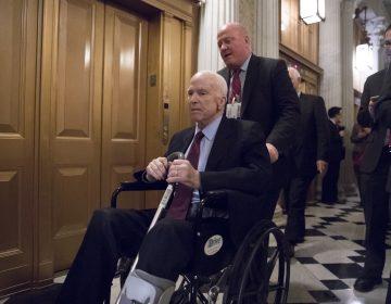 Senate Armed Services Chairman John McCain, R-Ariz., arrives for votes on Capitol Hill in Washington, Monday evening, Nov. 27, 2017.