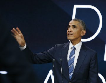 Former U.S. President Obama gestures as he arrives on stage prior to delivering a speech, in Paris, Saturday, Dec. 2, 2017.  Former U.S. President Barack Obama is ending a five-day international trip in Paris, where he is lunching with French President Emmanuel Macron and scheduled to give a speech to business leaders. (Thibault Camus/AP Photo)