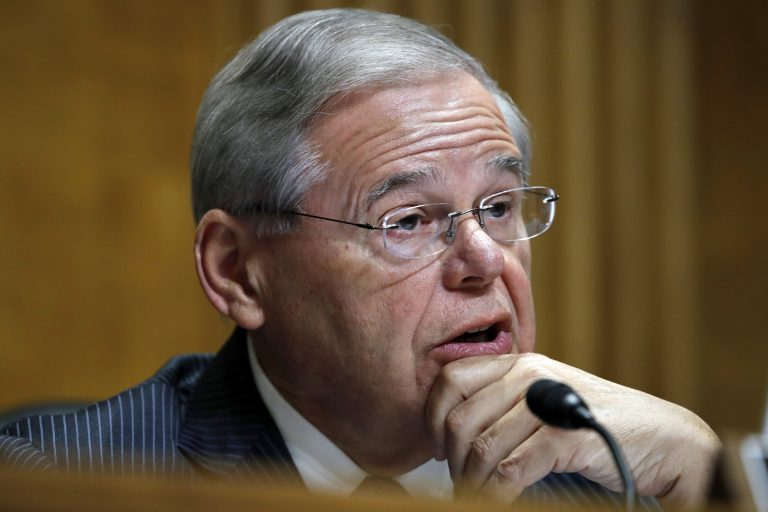 Ranking Member Sen. Bob Menendez, D-N.J., questions Secretary of State-designate Mike Pompeo during a Senate Foreign Relations Committee confirmation hearing Thursday, April 12, 2018 on Capitol Hill in Washington. (Jacquelyn Martin/AP Photo)