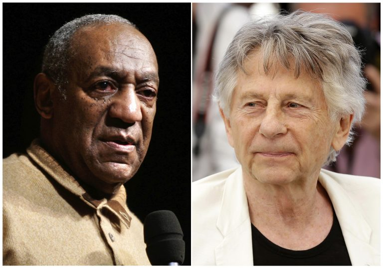In this combination photo, Bill Cosby speaks to an audience on the campus of University of the District of Columbia in Washington on May 16, 2006 , left, and director Roman Polanski appears at the photo call for the film,