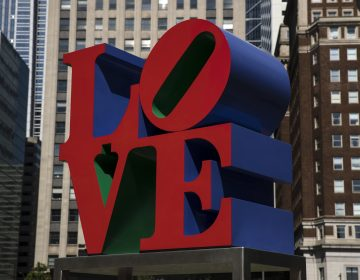 Shown is the Robert Indiana sculpture