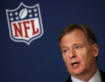 NFL commissioner Roger Goodell tells reporters the NFL team owners have reached agreement on a new league policy that requires players to stand for the national anthem or remain in the locker room during the NFL owner's spring meeting Wednesday, May 23, 2018, in Atlanta. (John Bazemore/AP Photo)