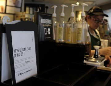 A store closing sign for May 29 is posted at a pickup counter at a Starbucks store, Friday, May 25, 2018, in Chicago. Starbucks will close more than 8,000 stores nationwide on Tuesday to conduct anti-bias training, the next of many steps the company is taking to try to restore its tarnished diversity-friendly image.