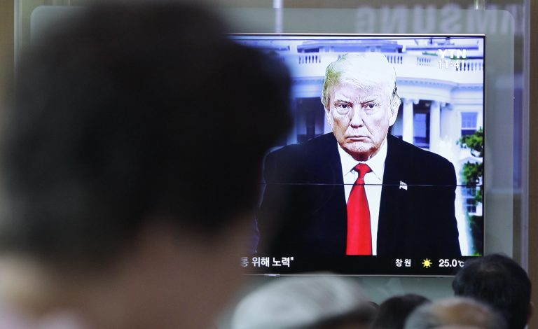 People watch a TV screen showing file footage of U.S. President Donald Trump during a news program at the Seoul Railway Station in Seoul, South Korea, Saturday, May 26, 2018. South Korea on Saturday expressed cautious relief about the revived talks for a summit between President Donald Trump and North Korean leader Kim Jong Un following a whirlwind 24 hours that saw Trump canceling the highly-anticipated meeting before saying it's potentially back on. (Lee Jin-man/AP Photo)