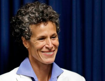 Bill Cosby accuser Andrea Constand smiles as she listens during a news conference after Cosby was found guilty in his sexual assault retrial in Norristown, Pa. (AP Photo/Matt Slocum)
