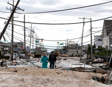Robert Bryce, (right), walks with his wife, Marcia Bryce, as destruction from Superstorm Sandy is seen on Route 35 in Seaside Heights, N.J., Wednesday, Oct. 31, 2012. Sandy, the storm that made landfall Monday, caused multiple fatalities, halted mass transit and cut power to more than 6 million homes and businesses. (Julio Cortez/AP Photo)