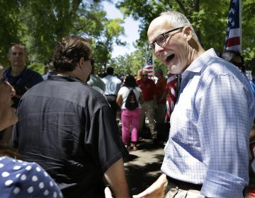 Paul Vallas is shown meeting with potential voters during his failed 2014 campaign to be Illinois' Lt Governor.  (AP Photo/Seth Perlman)