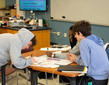 Ninth-graders at the Science Leadership Academy work on a group project in science class