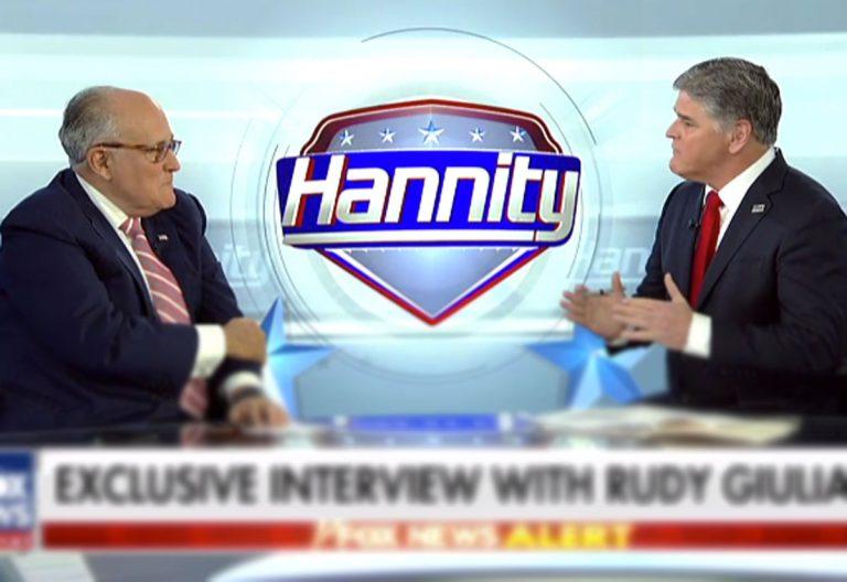 Rudy Giuliani (left) and Sean Hannity on Fox's Hannity (foxnews.com)