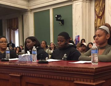 Youth advocates (from right) Beatriz Jimenez, Jihid Mayes, and Aqilah David at City Hall (Avi Wolfman-Arent/WHYY)