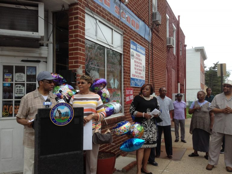 Business owners Bennie and Esther Broomer were honored with a street-naming ceremony. (Zoe Read/WHYY)