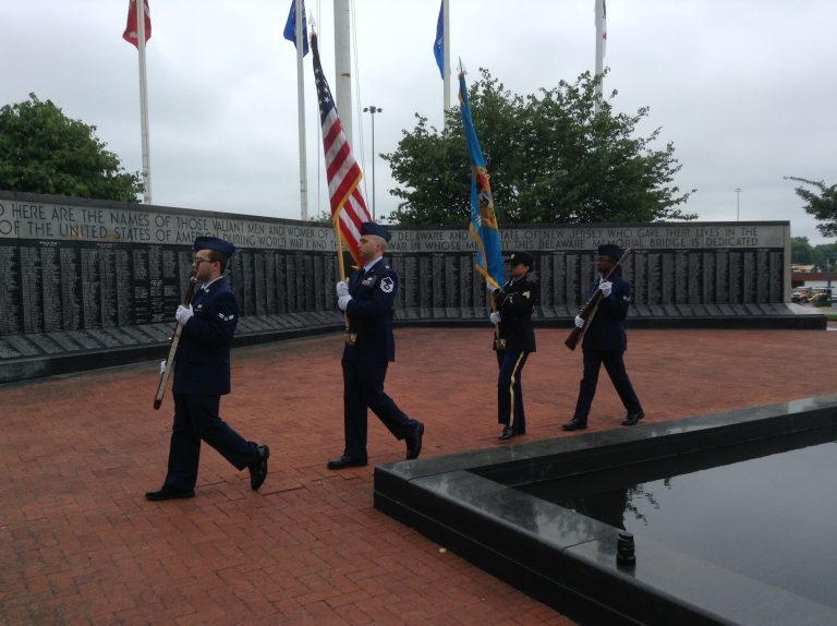 Service members and veterans participated in the annual Memorial Day service in New Castle, Delaware, Wednesday. (Zoe Read/WHYY)