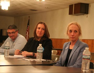 Dave Delloso, Molly Sheehan, and Mary Gay Scanlon attend a forum on the opioid crisis.
