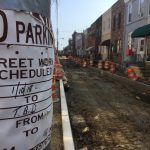 A temporary No Parking sign says street work is scheduled from 1/10/18 to T.B.D. (Jim Saksa/WHYY)