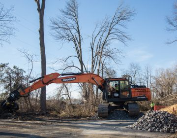 Tree clearing for construction of the Mariner East 2 natural gas liquids pipeline at site in Delaware County. DEP has issued more than 50 violations to Sunoco during the past year of construction. The agency recently fined the company for additional drilling mud spills. (Emily Cohen for StateImpact Pennsylvania)