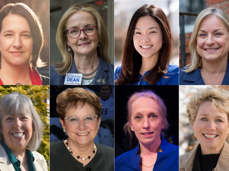 Clockwise from top left: Jess King (D), Madeleine Dean (D), Pearl Kim (R), Susan Wild (D), Chrissy Houlahan (D), Mary Gay Scanlon (D), Bibiana Boerio (D), and Susan Boser (D) won primary races for Pennsylvania congressional seats in the 2018 midterm. (Photos courtesy of campaigns, Emily Cohen/WHYY)