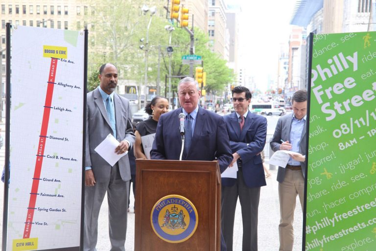 Mayor Jim Kenney announces the 2018 Philly Free Streets route —North Broad Street from City Hall up to Erie Avenue. (City of Philadelphia)