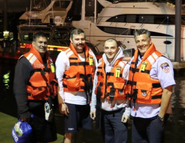 The FDNY boat crew that rescued five people from the Raritan Bay in Monmouth County, N.J. on Friday night. (Courtesy of FDNY)