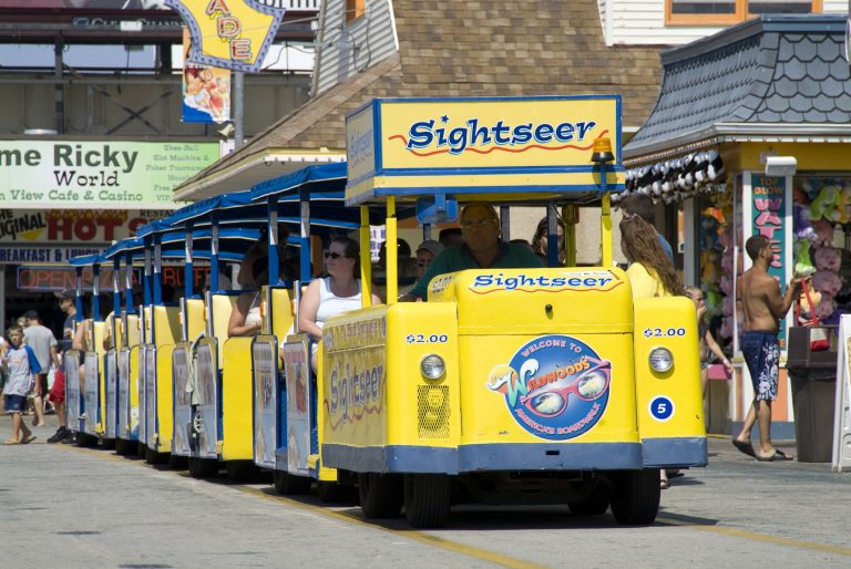Wildwood's tramcar chugs along the boardwalk (Greater Wildwoods Tourism Improvement and Development Authority)