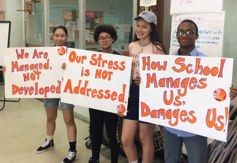 (Second from right) Yesenia Rodriguez, a 16-year-old junior at Central High School in Philadelphia, and her fellow organizers with Youth United for Change prepare to petition City Council for improvements to mental health services in schools at the School District budget hearing on Wednesday, May 16, 2018. (Nina Feldman/WHYY)