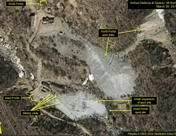This satellite image portraying the Punggye-ri nuclear test site in North Korea was released and notated by Airbus Defense & Space and 38 North in March. North Korea says it will dismantle its nuclear test site between May 23 and 25. (AP)