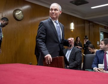 Scott Pruitt, administrator of the Environmental Protection Agency, arrives for his testimony Wednesday before a Senate Appropriations subcommittee. (Andrew Harnik/AP)