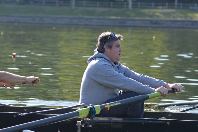 Philadelphia City Councilman Bobby Henon during practice on the Schuylkill Wednesday morning  (Tom MacDonald/WHYY)