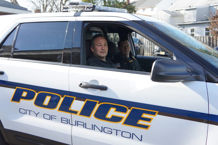 Burlington County Prosecutor Scott Coffina prepares to head out on patrol with City of Burlington Police Sgt. Ryan Elbertson. (Provided)