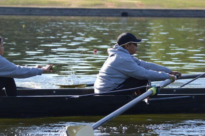 Philadelphia City Councilwoman Cindy Bas during practice on the Schuylkill Wednesday morning  (Tom MacDonald/WHYY)