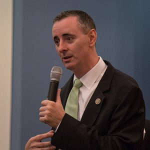 US Rep. Brian Fitzpatrick of Pennsylvania's 8th district talks to a crowd of constituents during a town hall in Bensalem, PA August 22nd 2017.