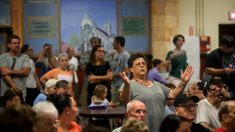 Residents of Fishtown were provided an open forum to voice their opinions on a proposal to convert Saint Laurentius Church into twenty-three apartments. (Brad Larrison for WHYY, file)