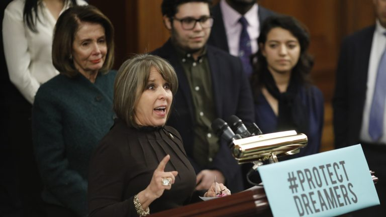 Rep. Michelle Lujan Grisham, D-N.M., speaks at a news conference calling for the passage of the Dream Act in January, along with House Democratic leader Nancy Pelosi. Lujan Grisham is one of five Democratic lawmakers, along with nine Republicans, receiving praise over immigration, in the form of paid ads, by the Koch network. (Aaron P. Bernstein/Getty Images)