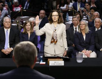 Gina Haspel is sworn in to testify at her confirmation hearing before the Senate intelligence committee in Washington on May 9. The full Senate on Thursday confirmed Haspel as CIA director, making her the first woman to hold the job. (Alex Brandon/AP)