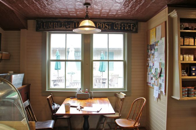 The area of the general store that held the Lumberville Post Office is now a dining nook. (Emma Lee/WHYY)