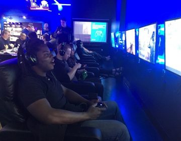 Horatio Monroe of Tracy, Calif. comes to PLAYlive Nation to play Fortnite every day after work. He says it relaxes him. (Adhiti Bandlamudi/Capital Public Radio)