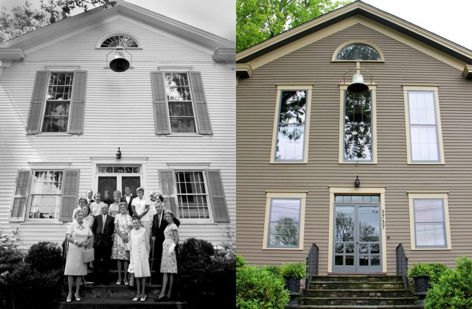 Lumberville Methodist Church congregation (left, © Bruce Katsiff) has become a private home, but retains its bell. (right, Emma Lee/WHYY)