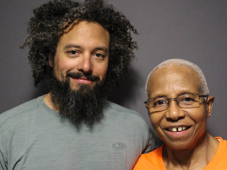 Max Knauer and his mother, Kittie Weston-Knauer, at a StoryCorps conversation recorded in April. (Grace Pauley/StoryCorps)