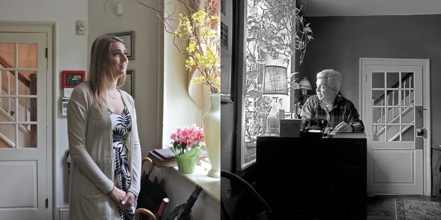 Black Bass Hotel hostess Julia Shipton looks out the window in the reception office (left, Emma Lee/WHYY) and Herbert Ward, former owner of the Black Bass Hotel, looking out the same window. (© Bruce Katsiff)