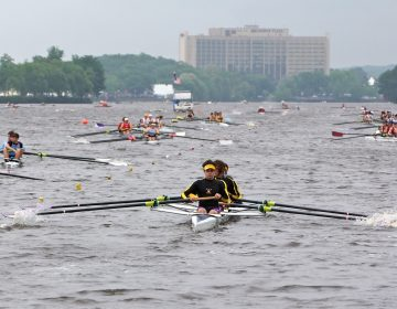Teams line up on the Cooper River during time trials in the Stotesbury Cup high school rowing competition, which was hastily relocated because of dangerous conditions on the Schuylkill River.