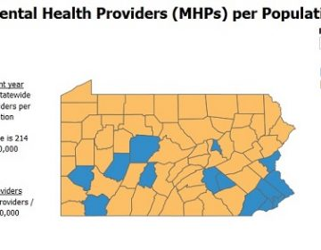 Pennsylvania has a statewide average of 179 mental health care practitioners per 100,000 people. That's below the national average of 214 providers per 100,000. The counties shown in orange also lag below the statewide average. (Hospital and Health System Association of Pennsylvania)