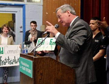 Mayor Kenney pitches sugary drink tax as key for his Pre-K and Rebuild initiatives, March 2016 (Emma Lee/WHYY)